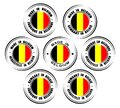Set of round labels `Made in Belgium` in English, French, Deutsch, Dutch languages. Circle icons with belgian flag Royalty Free Stock Photo