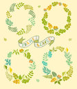 Set of round leafer vector frames. Vector illustration. Wreaths elements, hand-drawn style Royalty Free Stock Photo