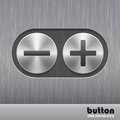 Set of round metal button with brushed texture and illustration of plus and minus for increase or decrease sound