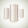 Set of round tins packaging container cylindrical shaped vector illustration Royalty Free Stock Image