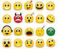 Set of round yellow emoticons expressive on white background Stock Photography