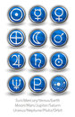 Set of rounded icons for the planets sun and moon with venus m mars jupiter uranus earth mercury saturn neptune pluto Stock Photo