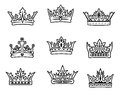 Set of royal crowns Stock Images