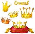 Set of royal gold crowns isolated on white yellow cartoon kings eps effects Royalty Free Stock Photography