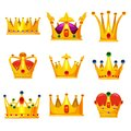 Set royal golden crowns with jewels, vector cartoon icons isolated on white background. Heraldic elements, monarchic Royalty Free Stock Photo