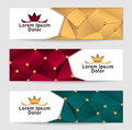 Set royal triangle banners gold red dark green colors with crown for advertising different something Royalty Free Stock Photo