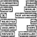 Set of rubber stamps with messages refused rejected cancelled declined eliminated invalid Stock Photo