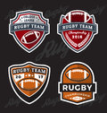 Set of Rugby and Football Logo Template Royalty Free Stock Photo
