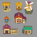 Set of rural buildings Create your own cartoon farm. game assets Royalty Free Stock Photo