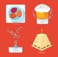 Set Russian Easter food. Food illustration with Easter cake, egg