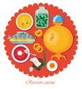 Set Russian national food. Illustration cuisine