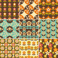 Set of 70s Seamless Patterns Design Royalty Free Stock Photo