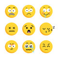 Set of sad smiling emoticon faces.