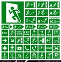Set of safety signs. Exit signs. Royalty Free Stock Photo