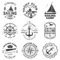 Set of sailing camp and yacht club badge. Vector. Concept for shirt, print or tee. Vintage typography design with black