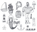 Set with sailor, lighthouse, mermaid, ship and Royalty Free Stock Photo