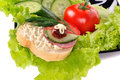 Set of salad, tomato and dill Royalty Free Stock Photos
