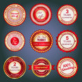 Set of sale badges labels and stickers in red with various inscriptions on retail designed colors Stock Photo