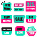 Set of sale, buy now, new, half price banner in heavy green and Royalty Free Stock Photo