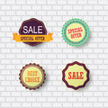 Set of sale design elements flat badges and emblems Royalty Free Stock Photos