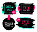Set of sale, discount stickers and banners. Hand drawn grunge brush strokes and splatters. Backgrounds for text.