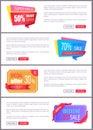Set Sale Special Offer Order Now Web Poster Vector