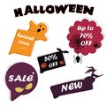 Set Sale speech bubble banners, discount tags design template, app icons, vector illustration. Halloween special.