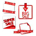 Set of sale sticker or label red Royalty Free Stock Images