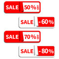 Set of sale sticker or label in red white color Stock Photos
