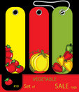Set of sale vegetables autumn tags