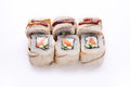 Set of salmon and eel rolls isolated on white, closeup Royalty Free Stock Photo