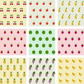 Set of samples seamless fruits backgrounds. Royalty Free Stock Photo