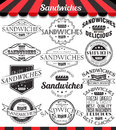 Set of sandwiches labels, badges and logos.
