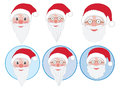 Set of santa claus faces face illustrations Royalty Free Stock Photography