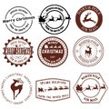 Set of Santa Claus signs. Collection of stamps of the North Pole. Vector illustration of stamps for mail. Christmas Royalty Free Stock Photo