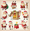 Set of santa clauses ready for christmas Stock Images