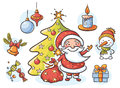 Set with Santa, snowman, candle, present, Christmas tree and ornaments Royalty Free Stock Photo