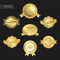 Set of satisfaction guarantee and premium quality emblem Royalty Free Stock Photo