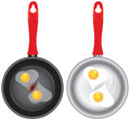 Set of saucepans with Scrambled eggs Stock Photo
