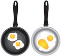 Set of saucepans with Scrambled eggs Stock Images