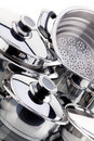 A set of saucepans, stainless steel Stock Image