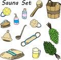 Set for sauna. Hand drawn items for bath.