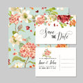 Set of Save the Date Cards with Autumn Vintage Hortensia Flowers for Wedding, Invitation, Party Royalty Free Stock Photo