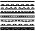 Set of scalloped vector borders lace Royalty Free Stock Photo