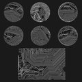 Set of schemes outlines circuits charts diagra diagrams arranged in circles on black background Royalty Free Stock Image