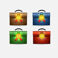 Set of school bags satchels with number one labels Stock Photography