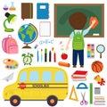 Set of school bus and school supplies