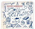 Set of school doodle illustrations Stock Photos