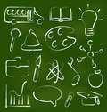 Set school icons in chalk doodle style illustration vector Stock Image