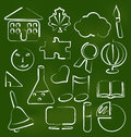 Set school icons in chalk doodle style illustration vector Stock Photos